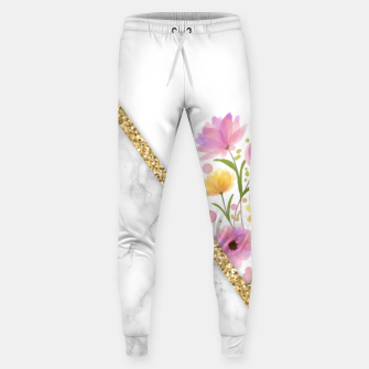 Thumbnail image of Minimal Peach Gold Floral Marble Pantalones de chándal , Live Heroes