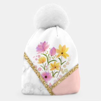 Thumbnail image of Minimal Peach Gold Floral Marble Gorro, Live Heroes