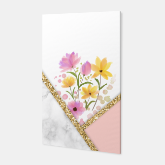 Thumbnail image of Minimal Peach Gold Floral Marble Canvas, Live Heroes