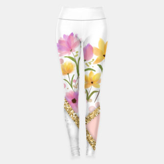 Thumbnail image of Minimal Peach Gold Floral Marble Leggings, Live Heroes
