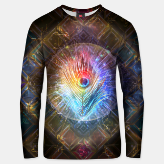 Thumbnail image of Rainbow peacock feather Unisex sweater, Live Heroes