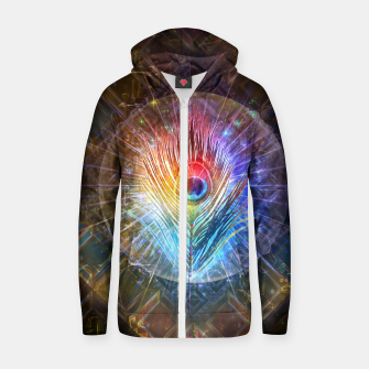Thumbnail image of Rainbow peacock feather Zip up hoodie, Live Heroes