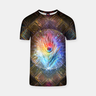 Thumbnail image of Rainbow peacock feather T-shirt, Live Heroes