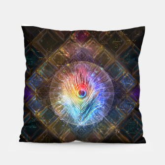 Thumbnail image of Rainbow peacock feather Pillow, Live Heroes