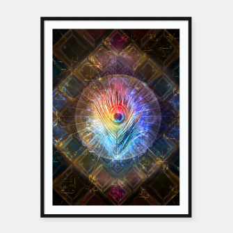 Miniatur Rainbow peacock feather Framed poster, Live Heroes
