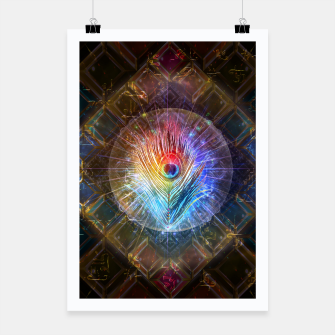 Miniatur Rainbow peacock feather Poster, Live Heroes
