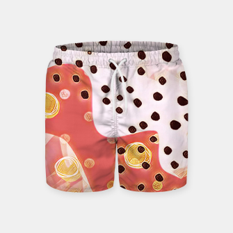 Miniatur pink coral gold brown abstract digital painting Swim Shorts, Live Heroes