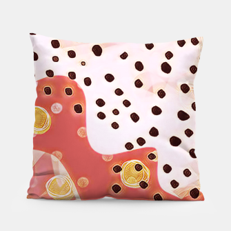 Miniatur pink coral gold brown abstract digital painting Pillow, Live Heroes