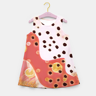 Miniatur pink coral gold brown abstract digital painting Girl's summer dress, Live Heroes