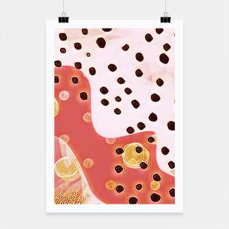 Miniaturka pink coral gold brown abstract digital painting Poster, Live Heroes