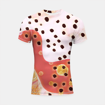 Miniatur pink coral gold brown abstract digital painting Shortsleeve rashguard, Live Heroes