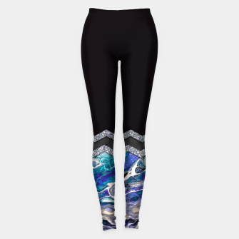 BLUE OCEAN MINIMAL LIQUID PAINTING Leggings thumbnail image