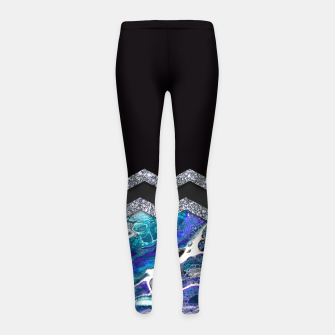 Thumbnail image of BLUE OCEAN MINIMAL LIQUID PAINTING Leggings para niña, Live Heroes