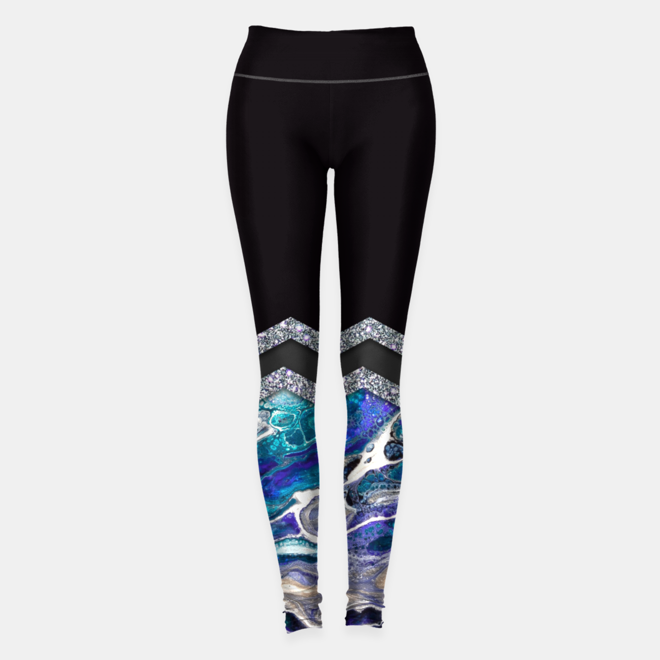 Image of BLUE OCEAN MINIMAL LIQUID PAINTING Leggings - Live Heroes