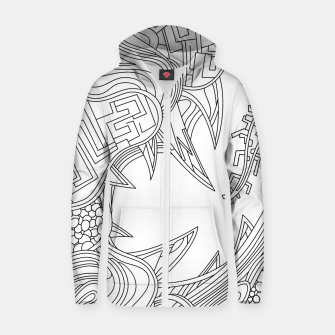 Thumbnail image of Wandering Abstract Line Art 39: Black & White Zip up hoodie, Live Heroes