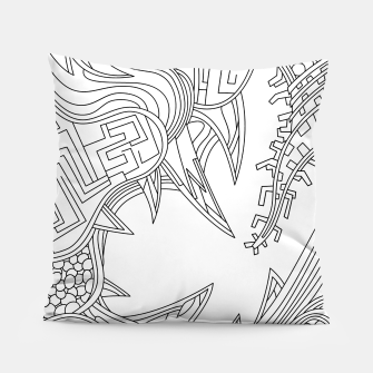 Thumbnail image of Wandering Abstract Line Art 39: Black & White Pillow, Live Heroes