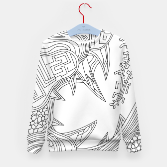 Thumbnail image of Wandering Abstract Line Art 39: Black & White Kid's sweater, Live Heroes