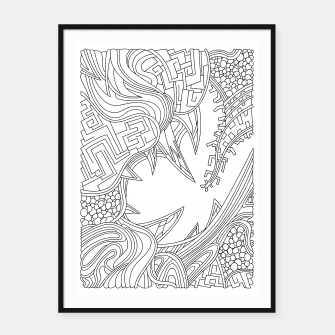 Thumbnail image of Wandering Abstract Line Art 39: Black & White Framed poster, Live Heroes