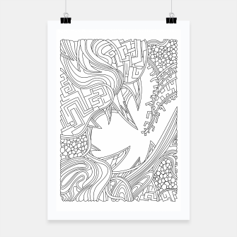 Thumbnail image of Wandering Abstract Line Art 39: Black & White Poster, Live Heroes