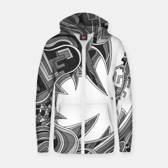 Thumbnail image of Wandering Abstract Line Art 39: Grayscale Zip up hoodie, Live Heroes