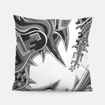 Thumbnail image of Wandering Abstract Line Art 39: Grayscale Pillow, Live Heroes