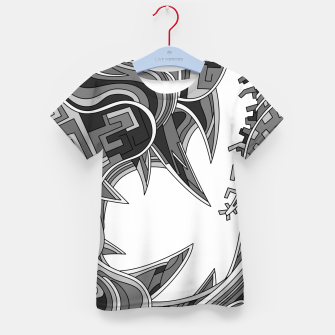 Thumbnail image of Wandering Abstract Line Art 39: Grayscale Kid's t-shirt, Live Heroes