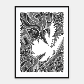 Thumbnail image of Wandering Abstract Line Art 39: Grayscale Framed poster, Live Heroes