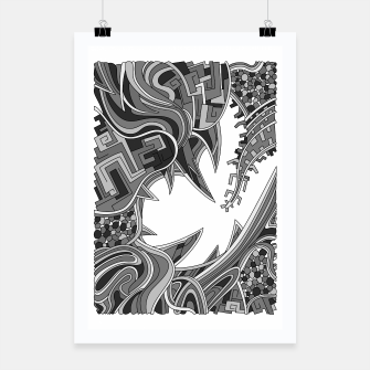 Thumbnail image of Wandering Abstract Line Art 39: Grayscale Poster, Live Heroes