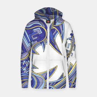 Thumbnail image of Wandering Abstract Line Art 39: Blue Zip up hoodie, Live Heroes