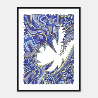 Thumbnail image of Wandering Abstract Line Art 39: Blue Framed poster, Live Heroes