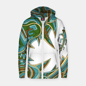 Thumbnail image of Wandering Abstract Line Art 39: Green Zip up hoodie, Live Heroes