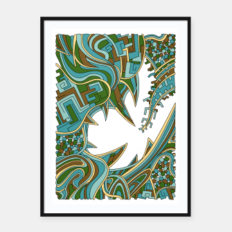 Thumbnail image of Wandering Abstract Line Art 39: Green Framed poster, Live Heroes