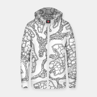 Thumbnail image of Wandering Abstract Line Art 40: Black & White Zip up hoodie, Live Heroes