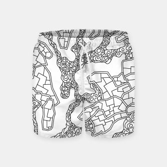 Thumbnail image of Wandering Abstract Line Art 40: Black & White Swim Shorts, Live Heroes