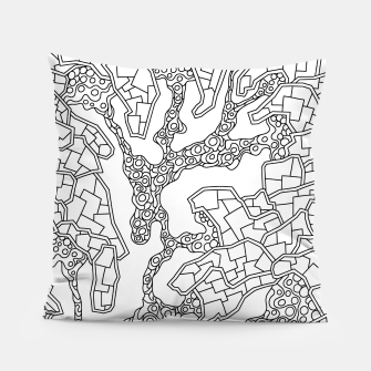 Thumbnail image of Wandering Abstract Line Art 40: Black & White Pillow, Live Heroes