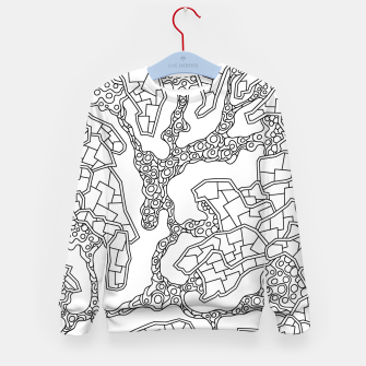 Thumbnail image of Wandering Abstract Line Art 40: Black & White Kid's sweater, Live Heroes