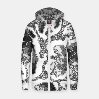 Thumbnail image of Wandering Abstract Line Art 40: Grayscale Zip up hoodie, Live Heroes