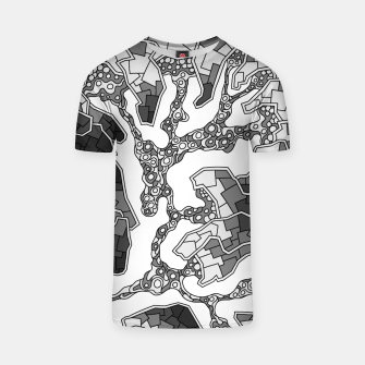 Thumbnail image of Wandering Abstract Line Art 40: Grayscale T-shirt, Live Heroes