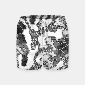 Thumbnail image of Wandering Abstract Line Art 40: Grayscale Swim Shorts, Live Heroes