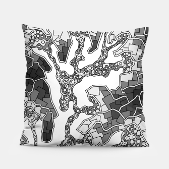 Thumbnail image of Wandering Abstract Line Art 40: Grayscale Pillow, Live Heroes