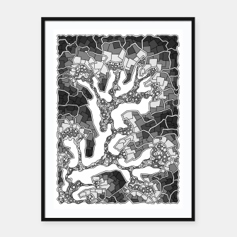Thumbnail image of Wandering Abstract Line Art 40: Grayscale Framed poster, Live Heroes