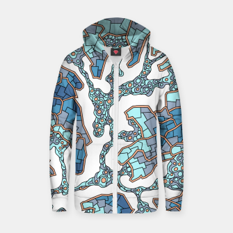Thumbnail image of Wandering Abstract Line Art 40: Blue Zip up hoodie, Live Heroes