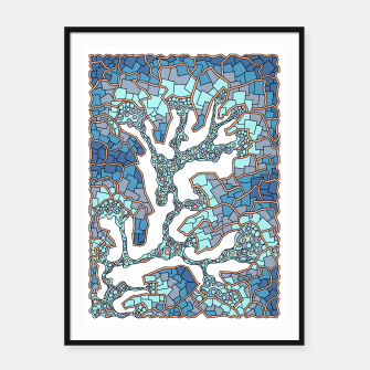 Thumbnail image of Wandering Abstract Line Art 40: Blue Framed poster, Live Heroes