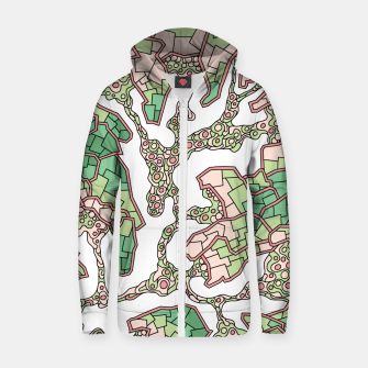 Thumbnail image of Wandering Abstract Line Art 40: Green Zip up hoodie, Live Heroes