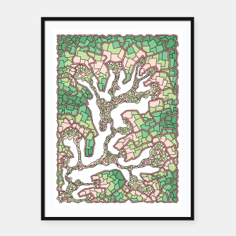 Thumbnail image of Wandering Abstract Line Art 40: Green Framed poster, Live Heroes
