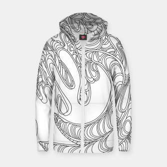 Thumbnail image of Wandering Abstract Line Art 41: Black & White Zip up hoodie, Live Heroes