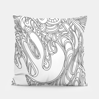 Thumbnail image of Wandering Abstract Line Art 41: Black & White Pillow, Live Heroes