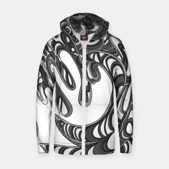 Thumbnail image of Wandering Abstract Line Art 41: Grayscale Zip up hoodie, Live Heroes