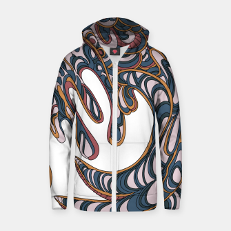 Thumbnail image of Wandering Abstract Line Art 41: Orange Zip up hoodie, Live Heroes
