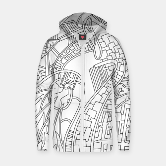 Thumbnail image of Wandering Abstract Line Art 42: Black & White Zip up hoodie, Live Heroes